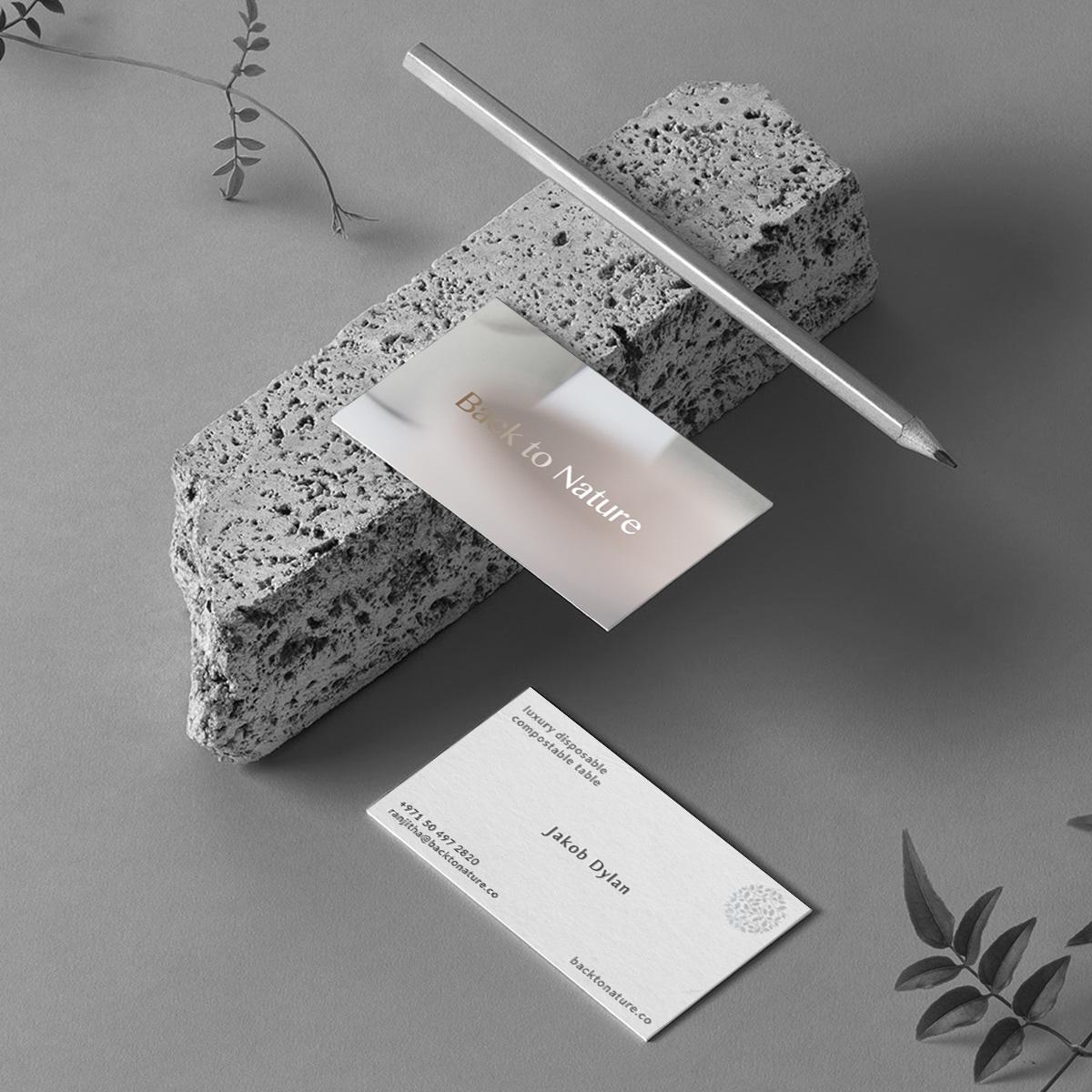 Minimal vitisting card design for back to nature